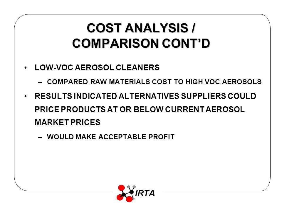 COST ANALYSIS / COMPARISON CONTD LOW-VOC AEROSOL CLEANERS –COMPARED RAW MATERIALS COST TO HIGH VOC AEROSOLS RESULTS INDICATED ALTERNATIVES SUPPLIERS COULD PRICE PRODUCTS AT OR BELOW CURRENT AEROSOL MARKET PRICES –WOULD MAKE ACCEPTABLE PROFIT