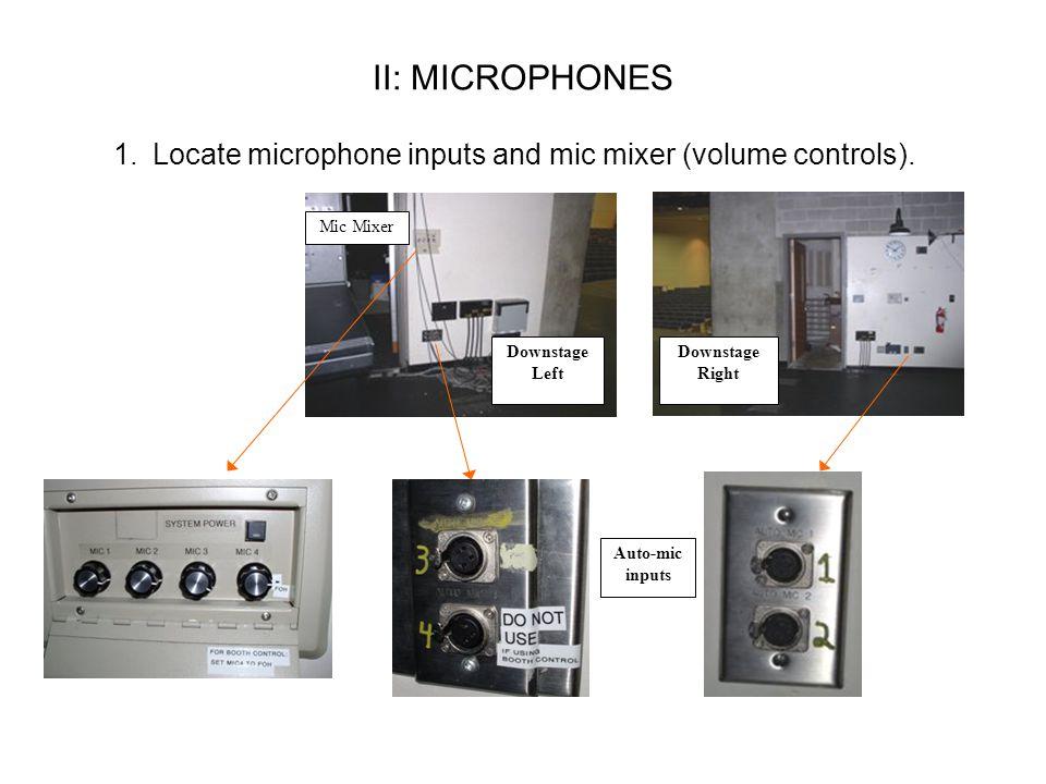 II: MICROPHONES 1.Locate microphone inputs and mic mixer (volume controls).