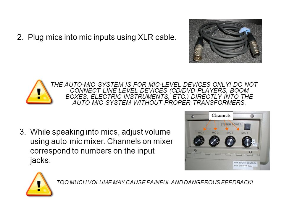THE AUTO-MIC SYSTEM IS FOR MIC-LEVEL DEVICES ONLY.