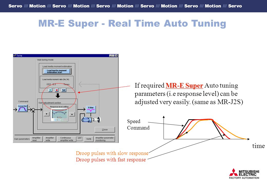 Servo /// Motion /// Servo /// Motion /// Servo /// Motion /// Servo /// Motion /// Servo /// Motion /// Servo MR-E Super - Real Time Auto Tuning MR-E Super If required MR-E Super Auto tuning parameters (i.e response level) can be adjusted very easily.