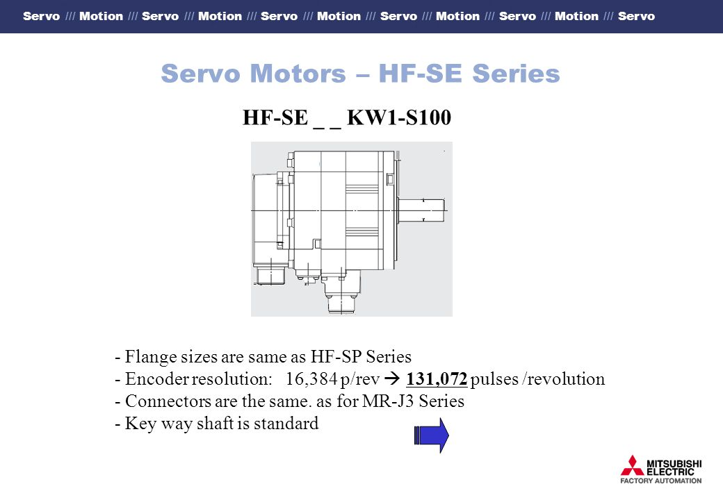 Servo /// Motion /// Servo /// Motion /// Servo /// Motion /// Servo /// Motion /// Servo /// Motion /// Servo Servo Motors – HF-SE Series HF-SE _ _ KW1-S100 - Flange sizes are same as HF-SP Series - Encoder resolution: 16,384 p/rev 131,072 pulses /revolution - Connectors are the same.