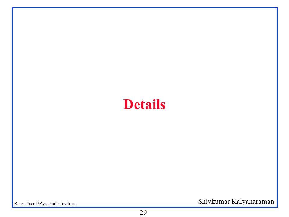 Shivkumar Kalyanaraman Rensselaer Polytechnic Institute 29 Details