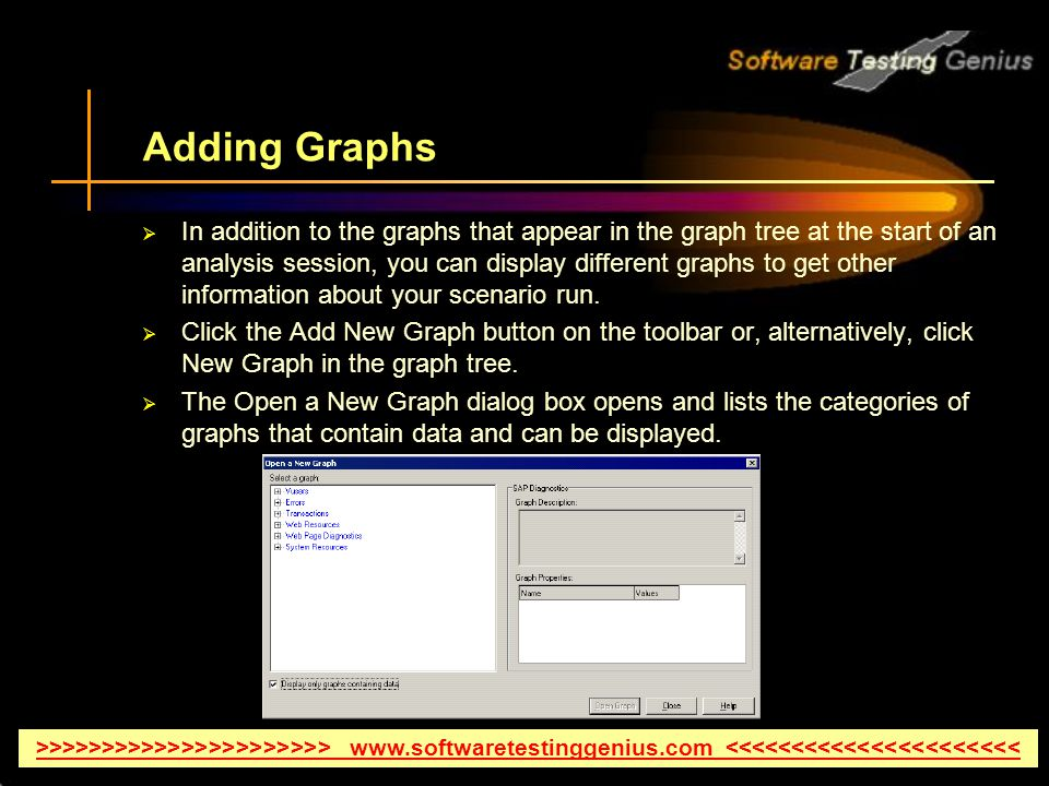 Adding Graphs In addition to the graphs that appear in the graph tree at the start of an analysis session, you can display different graphs to get other information about your scenario run.