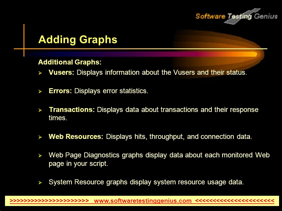 Adding Graphs Additional Graphs: Vusers: Displays information about the Vusers and their status.
