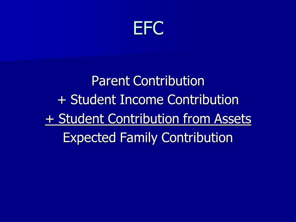 EFC Parent Contribution + Student Income Contribution + Student Contribution from Assets Expected Family Contribution
