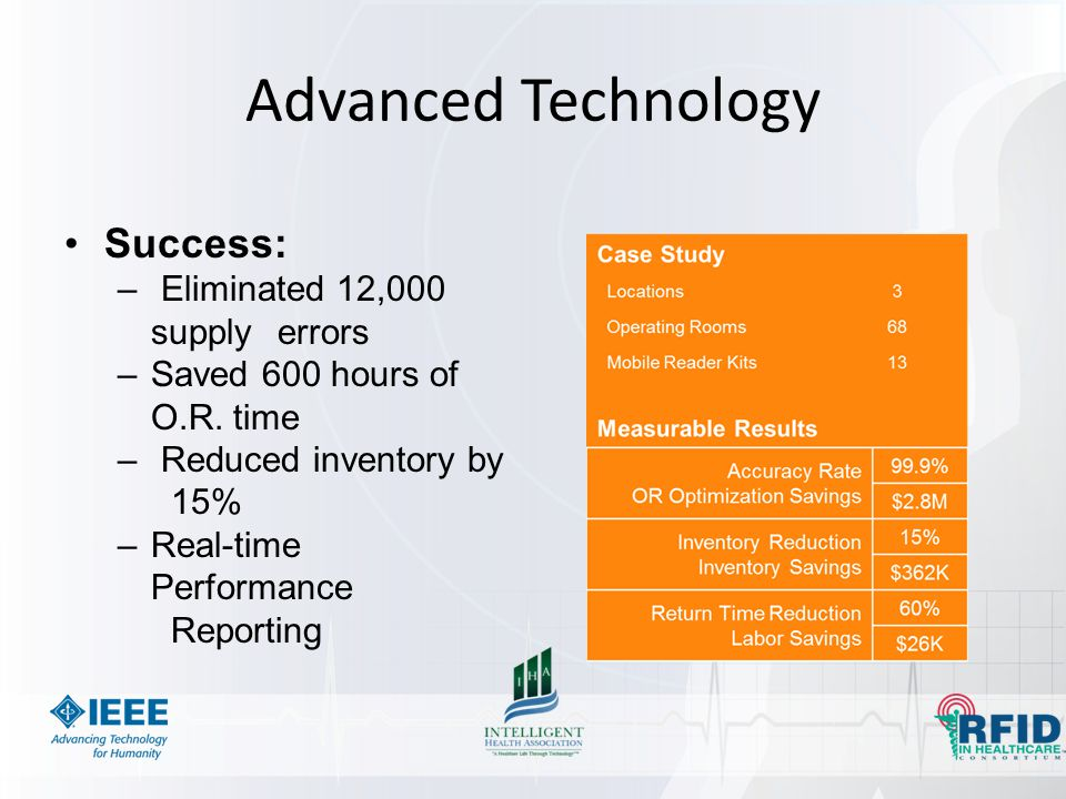 Advanced Technology Success: – Eliminated 12,000 supply errors –Saved 600 hours of O.R. time – Reduced inventory by 15% –Real-time Performance Reporti