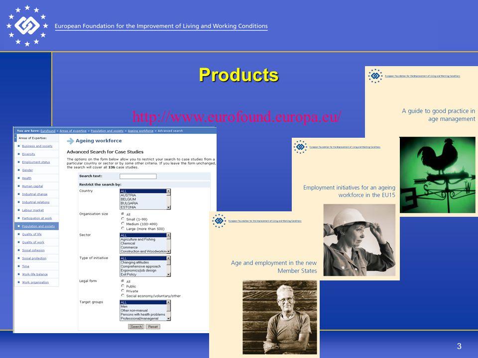 3 Products http://www.eurofound.europa.eu/