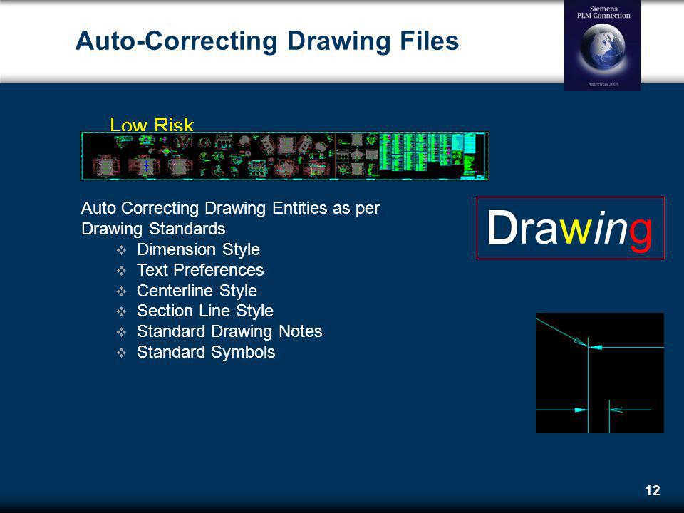 12 Auto-Correcting Drawing Files Low Risk Auto Correcting Drawing Entities as per Drawing Standards Dimension Style Text Preferences Centerline Style