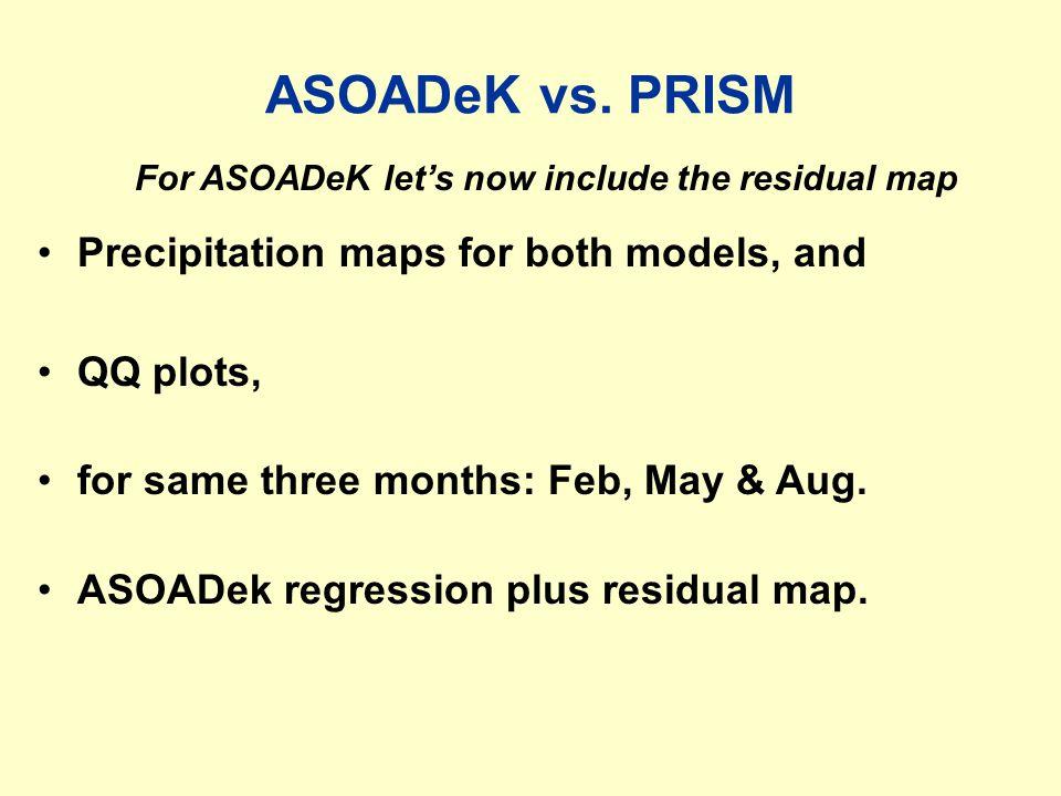 ASOADeK estimates vs. PRISM
