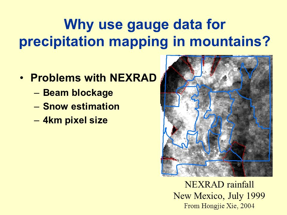 Four types of mapping approaches Information incorporated Spatial covariance NoYes Physical process No Theissen polygon, & inverse square distance Kriging Yes Regression, e.g., P-Z Cokriging (P-Z) (examples) Cokriging (P-Z) & De-trended residual kriging today