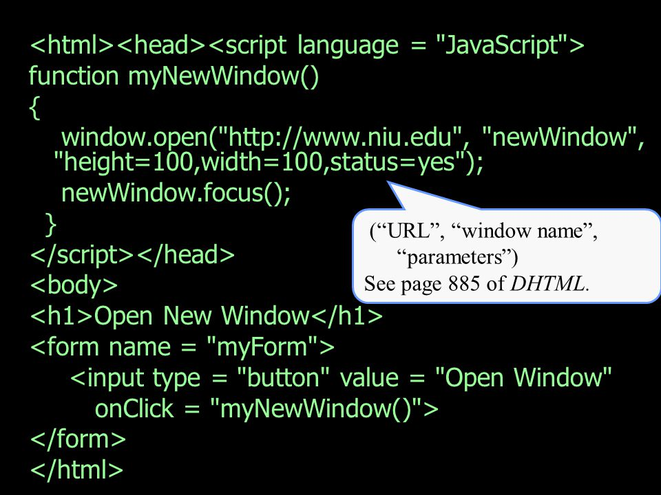 function myNewWindow() { window.open( http://www.niu.edu , newWindow , height=100,width=100,status=yes ); newWindow.focus(); } Open New Window <input type = button value = Open Window onClick = myNewWindow() > (URL, window name, parameters) See page 885 of DHTML.