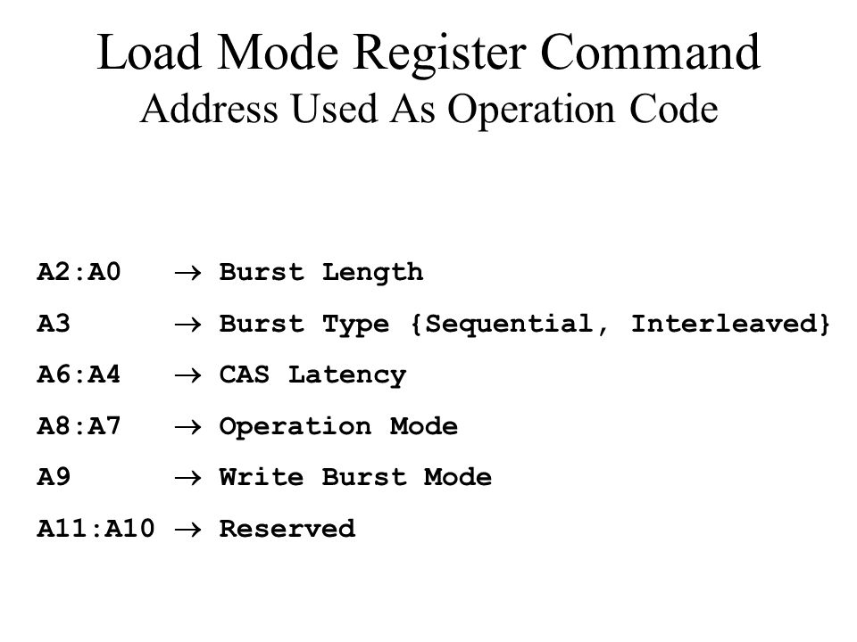 Load Mode Register Command Address Used As Operation Code A2:A0 Burst Length A3 Burst Type {Sequential, Interleaved} A6:A4 CAS Latency A8:A7 Operation