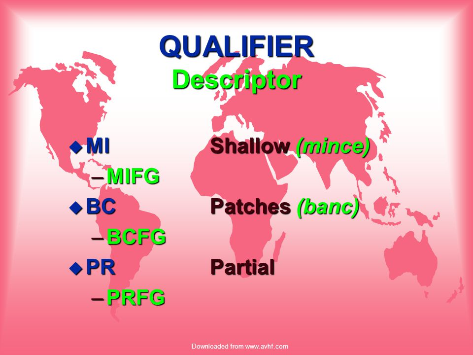 Downloaded from www.avhf.com QUALIFIER Descriptor u MIShallow (mince) –MIFG u BCPatches (banc) –BCFG u PRPartial –PRFG