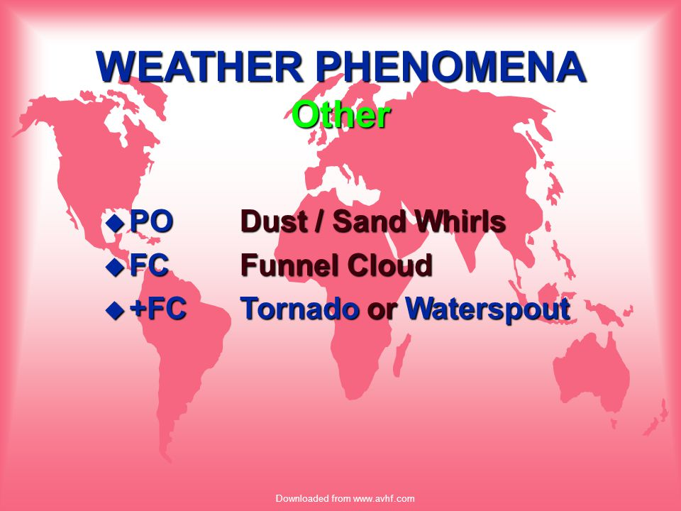 Downloaded from www.avhf.com WEATHER PHENOMENA Other u PODust / Sand Whirls u FCFunnel Cloud u +FCTornado or Waterspout
