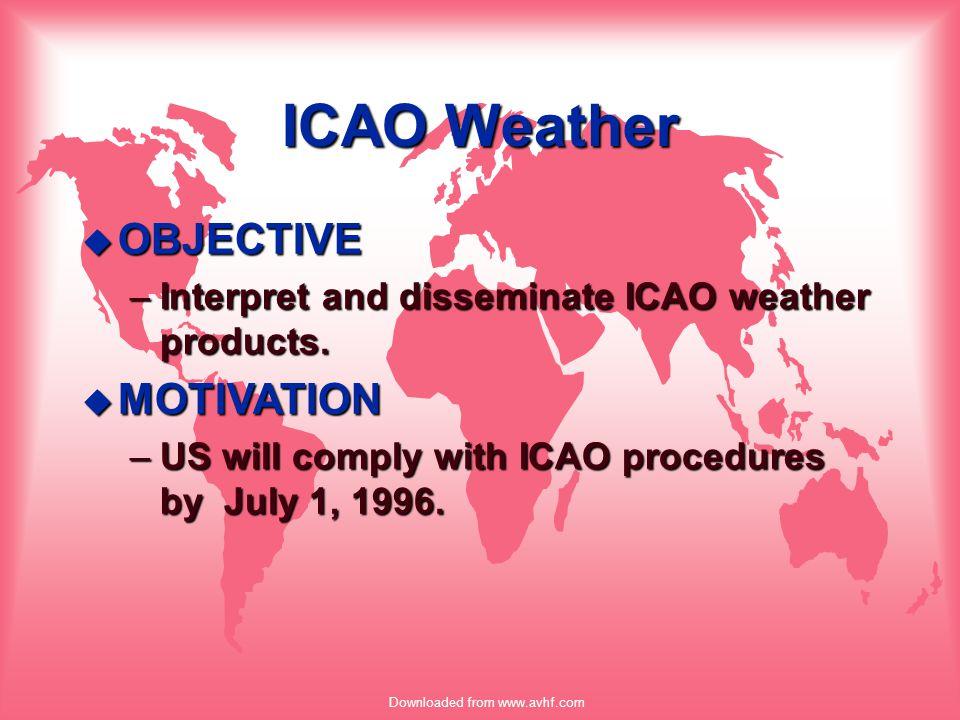 Downloaded from www.avhf.com ICAO Weather u METAR –Aviation Routine Weather report u SPECI –Special Aviation Weather report u TAF –Terminal Forecast u TAF AMD –Amended Terminal Forecast