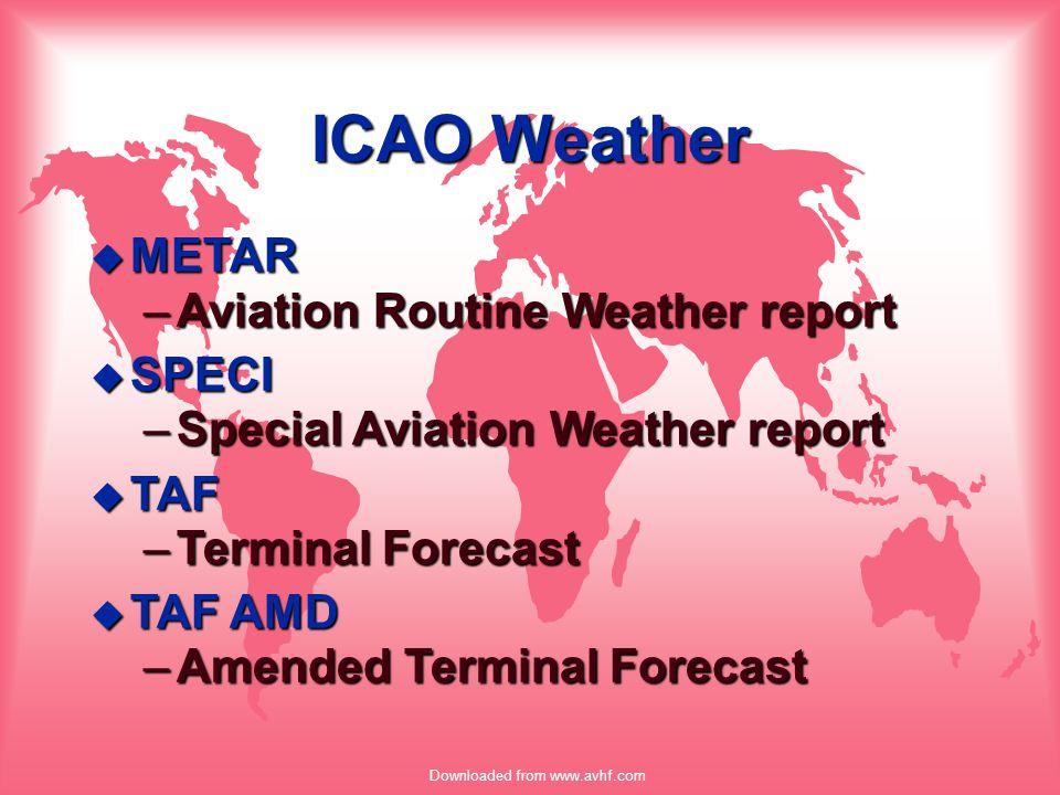 Downloaded from www.avhf.com METAR METAR KJFK 231856Z AUTO 16007KT 1/4SM R21/1600FT +SN BKN045 M06/M10 A2982 RMK AO2 u RUNWAY VISUAL RANGE –R21/Runway, plus L, C, or R –1600FTVisibility, M0600FT/P6000FT –R10L/1600V2000FTVariability –Canada1600/D, 1600/U, 1600/N