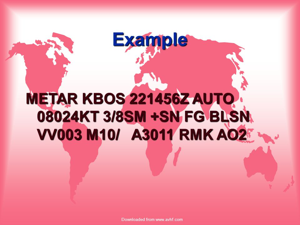 Downloaded from www.avhf.com Example METAR KBOS 221456Z AUTO 08024KT 3/8SM +SN FG BLSN VV003 M10/ A3011 RMK AO2