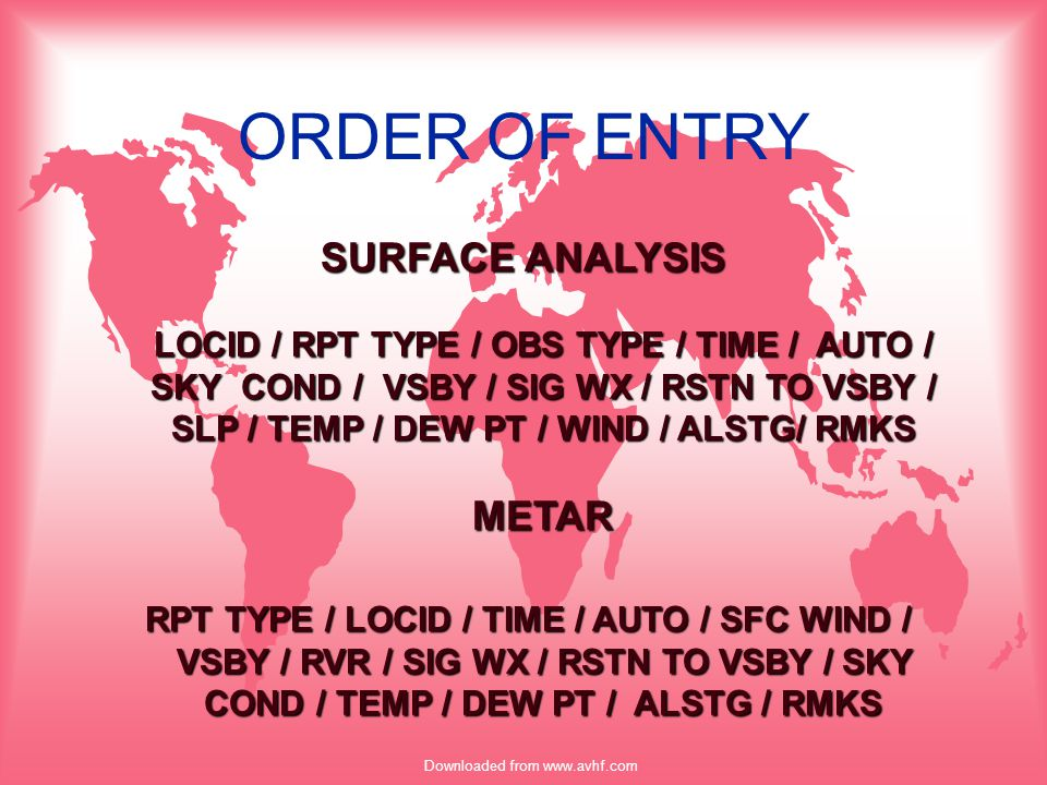 Downloaded from www.avhf.com TAF u WEATHER –NSWnot used in predominate groups (1st period and FR) –NSWno precip or obstruction to visibility –NSWdoes not exclude wx advisories or cloud layers