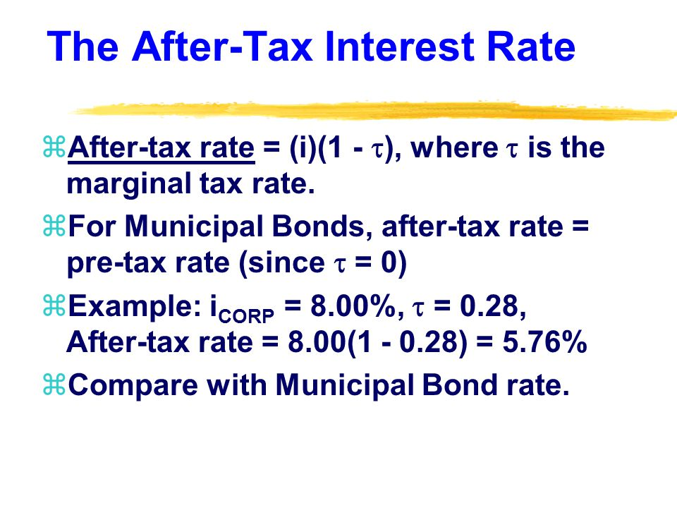 The After-Tax Interest Rate zAfter-tax rate = (i)(1 - ), where is the marginal tax rate.