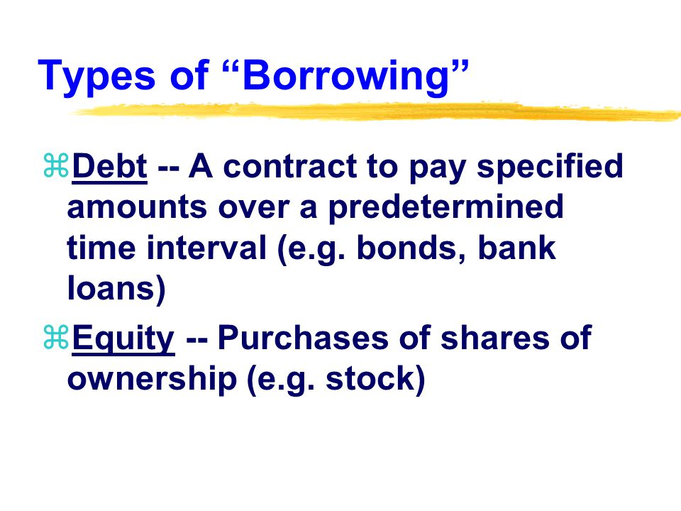 Types of Borrowing zDebt -- A contract to pay specified amounts over a predetermined time interval (e.g.