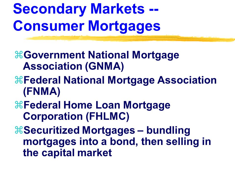 Secondary Markets -- Consumer Mortgages zGovernment National Mortgage Association (GNMA) zFederal National Mortgage Association (FNMA) zFederal Home Loan Mortgage Corporation (FHLMC) zSecuritized Mortgages – bundling mortgages into a bond, then selling in the capital market