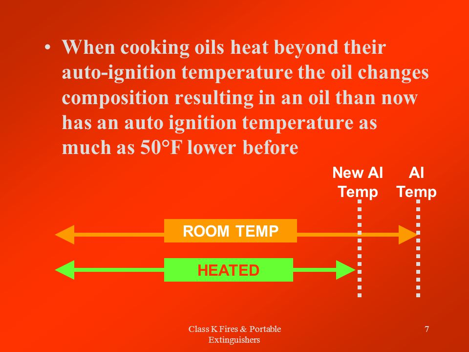 Class K Fires & Portable Extinguishers 7 When cooking oils heat beyond their auto-ignition temperature the oil changes composition resulting in an oil than now has an auto ignition temperature as much as 50°F lower before ROOM TEMP HEATED AI Temp New AI Temp