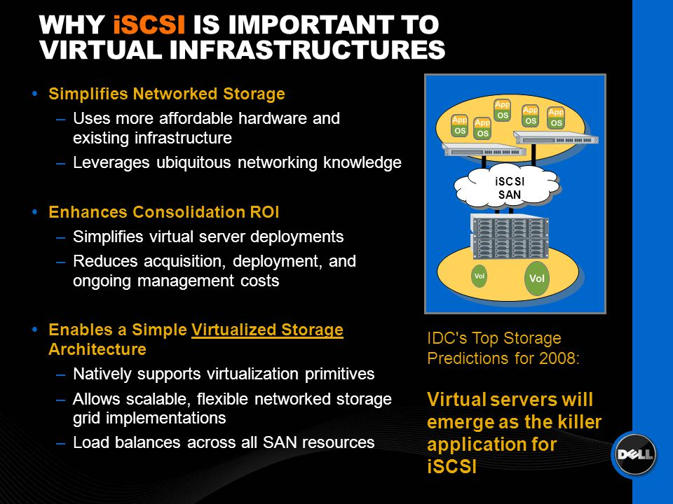 WHY iSCSI IS IMPORTANT TO VIRTUAL INFRASTRUCTURES Simplifies Networked Storage –Uses more affordable hardware and existing infrastructure –Leverages u