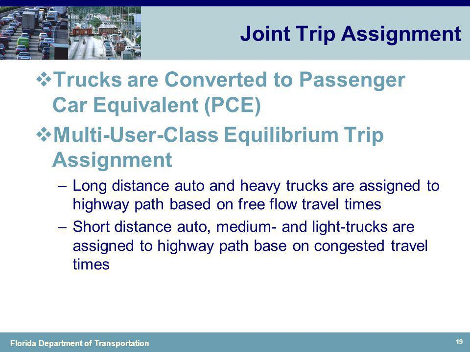 Florida Department of Transportation 19 Joint Trip Assignment Trucks are Converted to Passenger Car Equivalent (PCE) Multi-User-Class Equilibrium Trip
