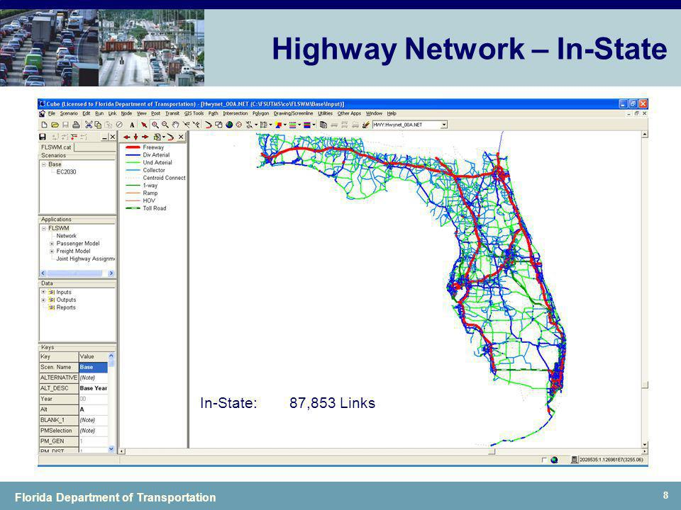 Florida Department of Transportation 8 Highway Network – In-State In-State:87,853 Links