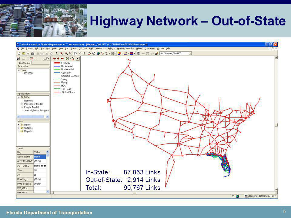 Florida Department of Transportation 9 Highway Network – Out-of-State In-State:87,853 Links Out-of-State: 2,914 Links Total:90,767 Links