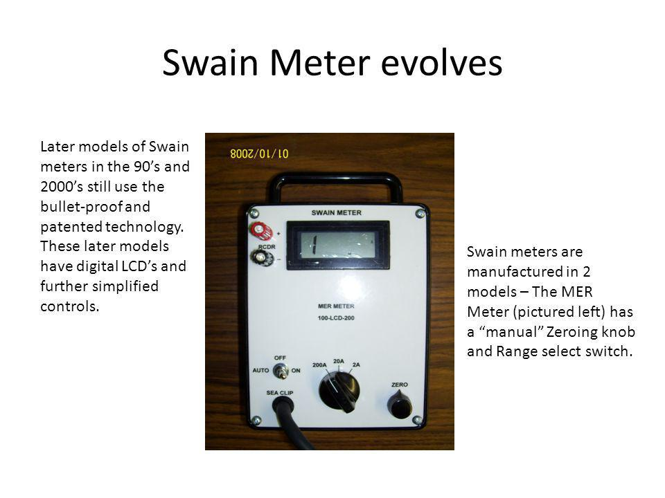 Swain Meter evolves Later models of Swain meters in the 90s and 2000s still use the bullet-proof and patented technology. These later models have digi