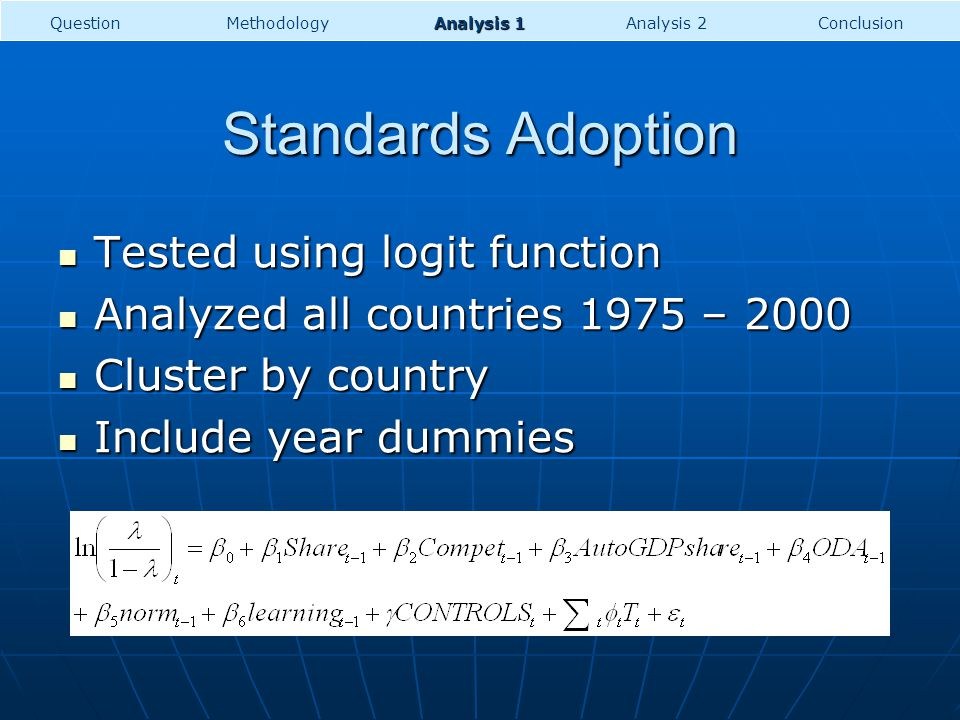 Standards Adoption Tested using logit function Tested using logit function Analyzed all countries 1975 – 2000 Analyzed all countries 1975 – 2000 Clust