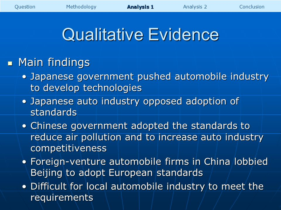 Qualitative Evidence Main findings Main findings Japanese government pushed automobile industry to develop technologiesJapanese government pushed auto