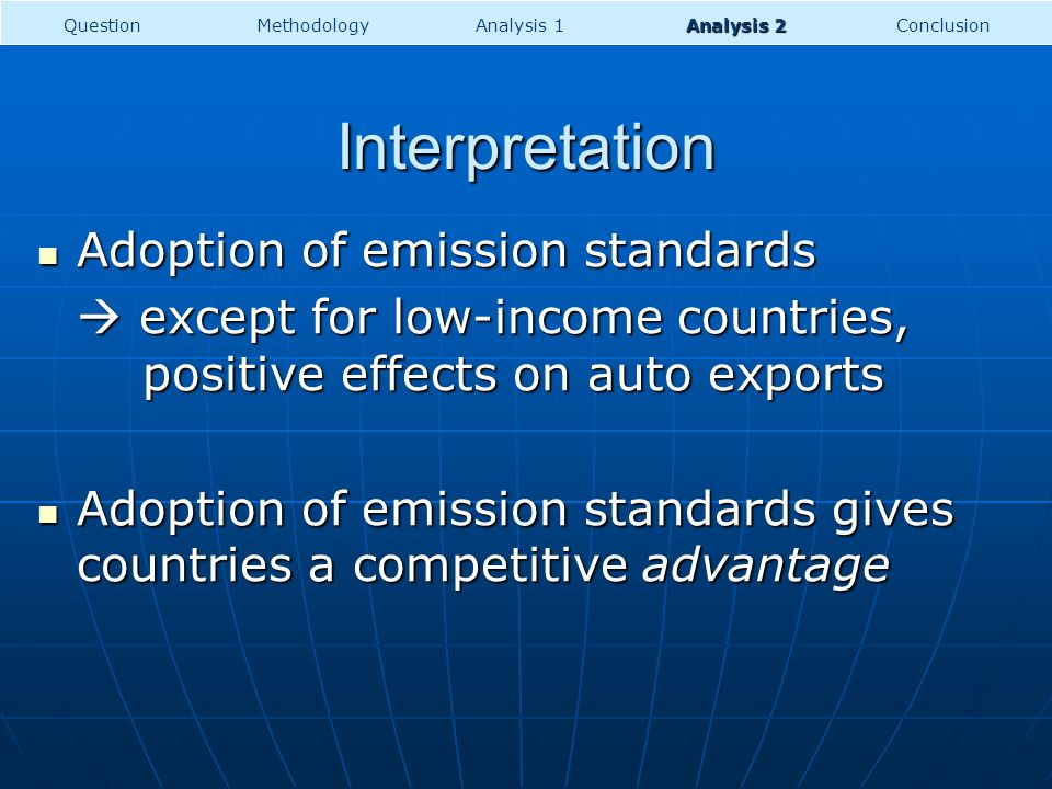 Interpretation Adoption of emission standards Adoption of emission standards except for low-income countries, positive effects on auto exports except for low-income countries, positive effects on auto exports Adoption of emission standards gives countries a competitive advantage Adoption of emission standards gives countries a competitive advantage MethodologyConclusionQuestionAnalysis 1 Analysis 2