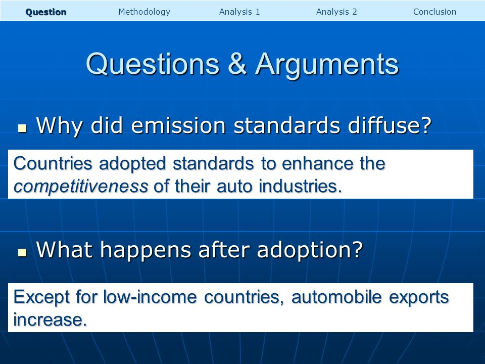 Questions & Arguments Why did emission standards diffuse? Why did emission standards diffuse? What happens after adoption? What happens after adoption
