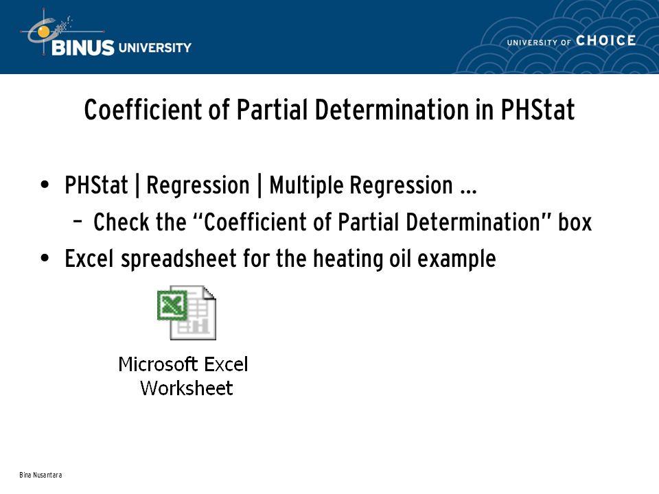 Bina Nusantara Coefficient of Partial Determination in PHStat PHStat | Regression | Multiple Regression … – Check the Coefficient of Partial Determina