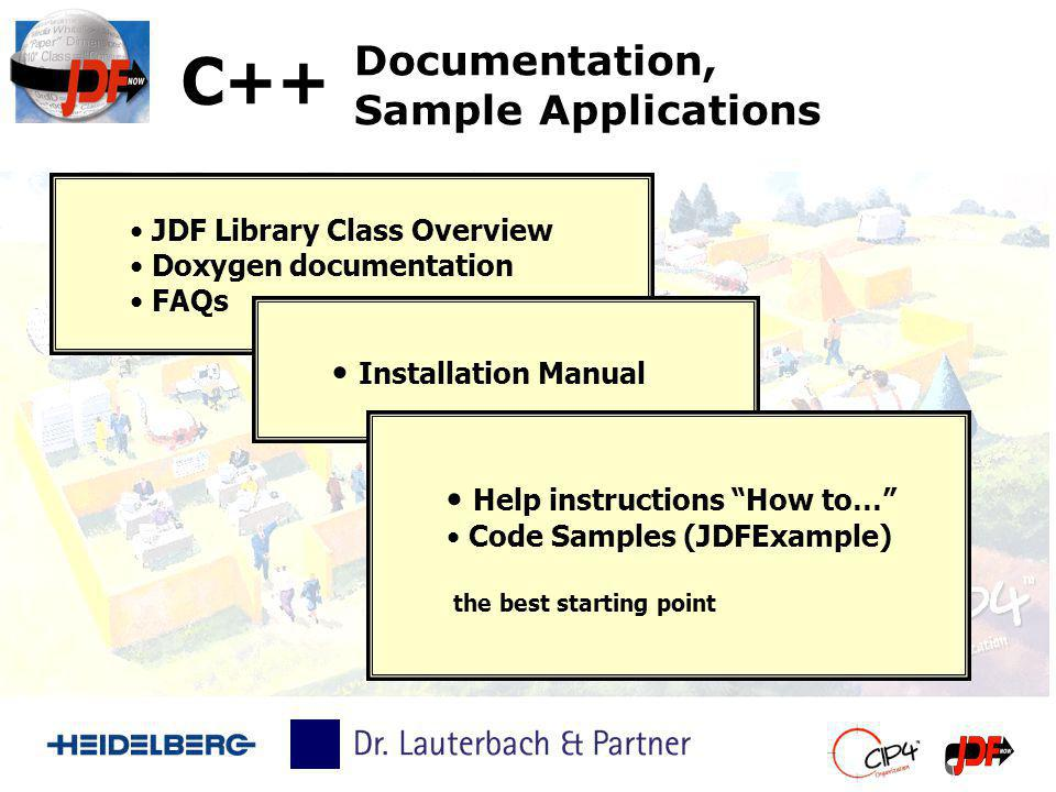 Documentation, Sample Applications JDF Library Class Overview Doxygen documentation FAQs C++ Installation Manual Help instructions How to… Code Sample