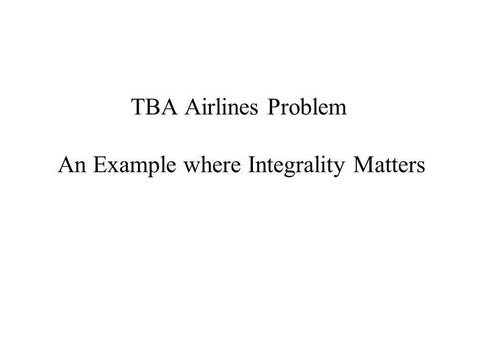 TBA Airlines Problem An Example where Integrality Matters