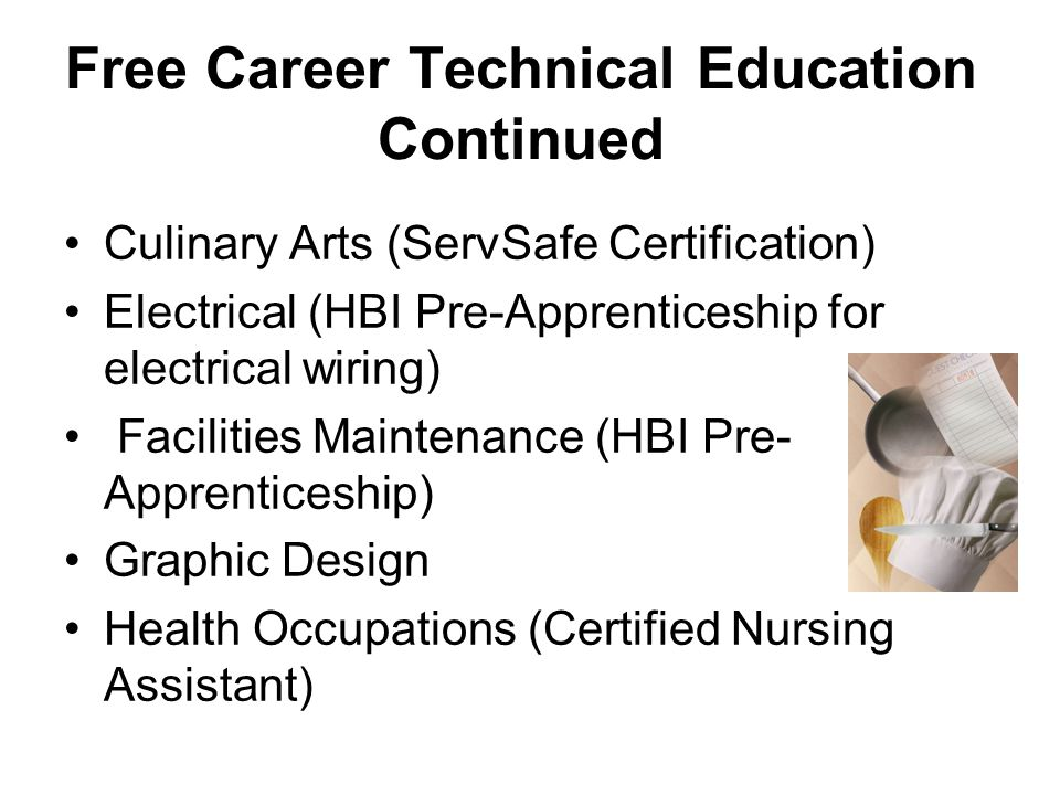 Free Career Technical Education Continued Culinary Arts (ServSafe Certification) Electrical (HBI Pre-Apprenticeship for electrical wiring) Facilities Maintenance (HBI Pre- Apprenticeship) Graphic Design Health Occupations (Certified Nursing Assistant)