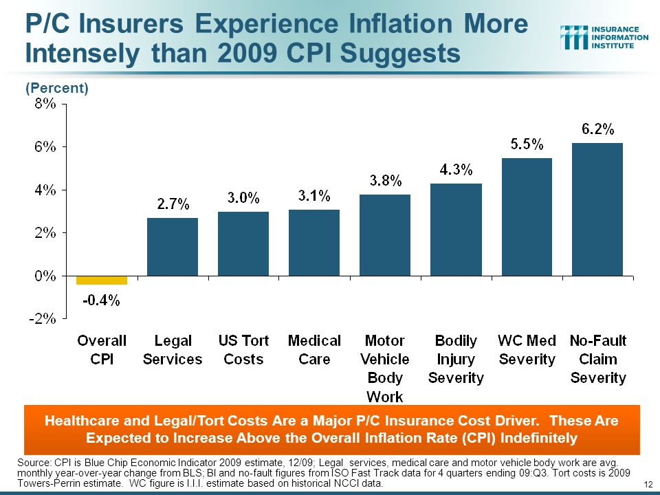 P/C Insurers Experience Inflation More Intensely than 2009 CPI Suggests Source: CPI is Blue Chip Economic Indicator 2009 estimate, 12/09; Legal services, medical care and motor vehicle body work are avg.
