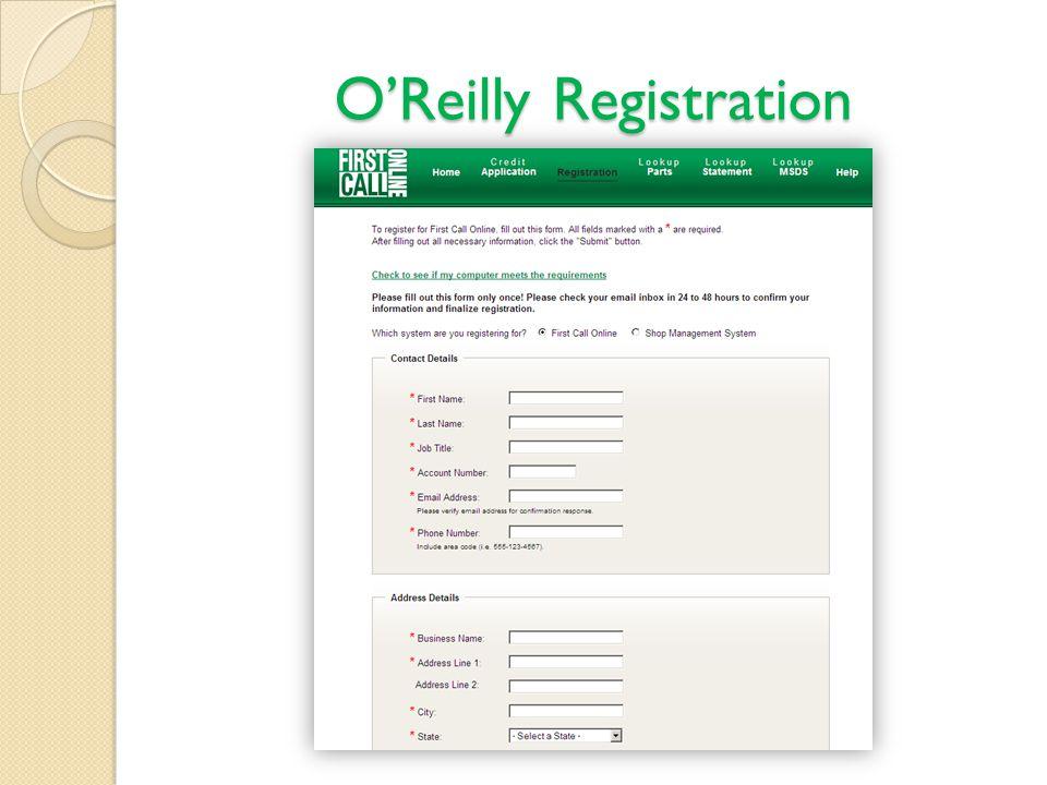 OReilly Registration