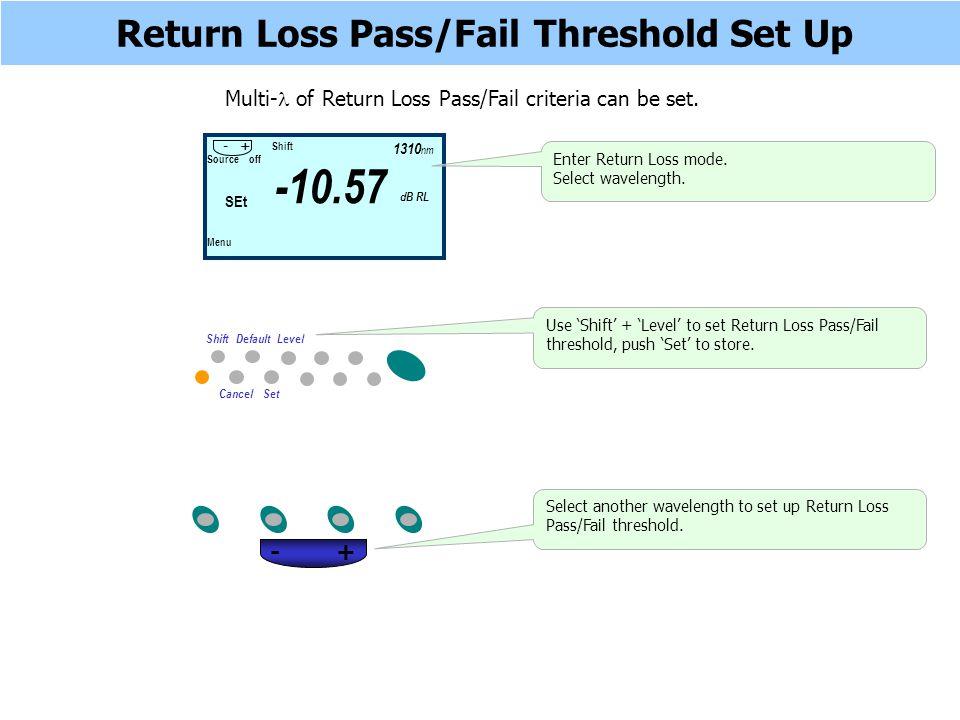 Return Loss Pass/Fail Threshold Set Up Multi- of Return Loss Pass/Fail criteria can be set.