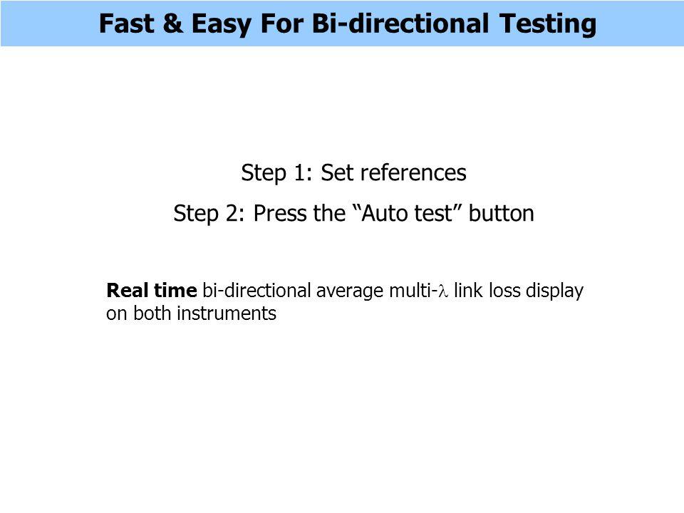 Step 1 - Set Reference At Both Ends Two-way portMeter port Test lead End A End B An optic fiber link