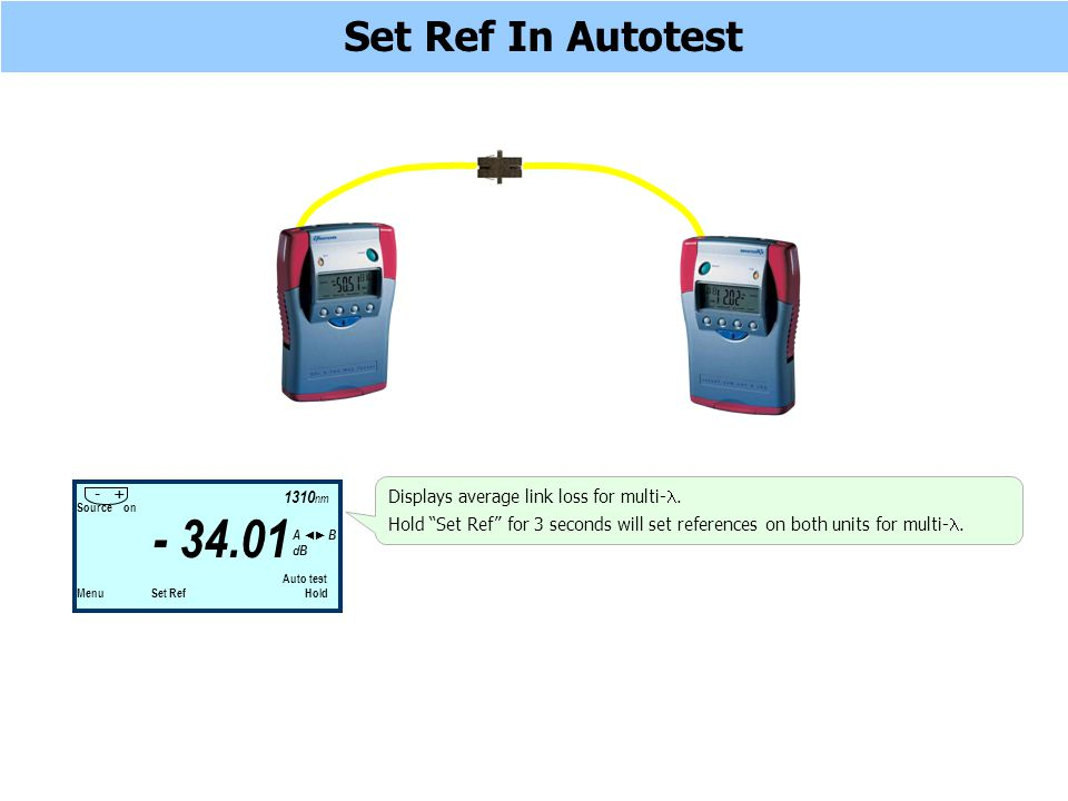Set Ref In Autotest Source on Auto test Menu Set Ref Hold - 34.01 1310 nm - + A B dB Displays average link loss for multi-.