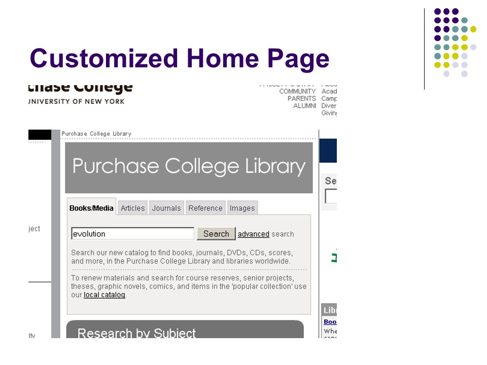 Customized Home Page