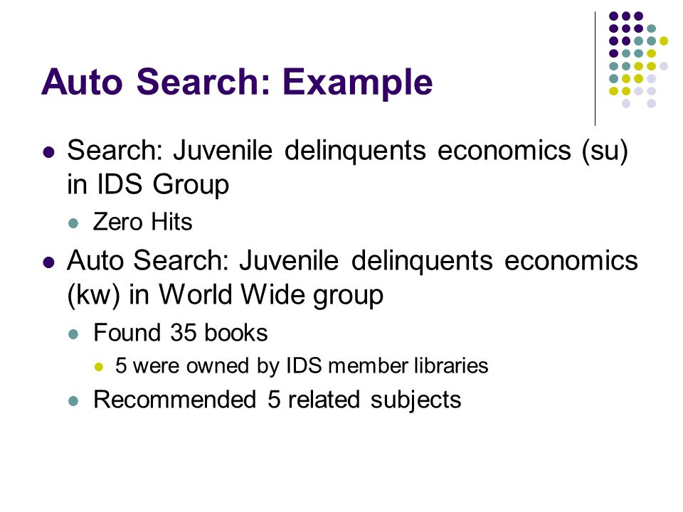 Auto Search: Example Search: Juvenile delinquents economics (su) in IDS Group Zero Hits Auto Search: Juvenile delinquents economics (kw) in World Wide group Found 35 books 5 were owned by IDS member libraries Recommended 5 related subjects