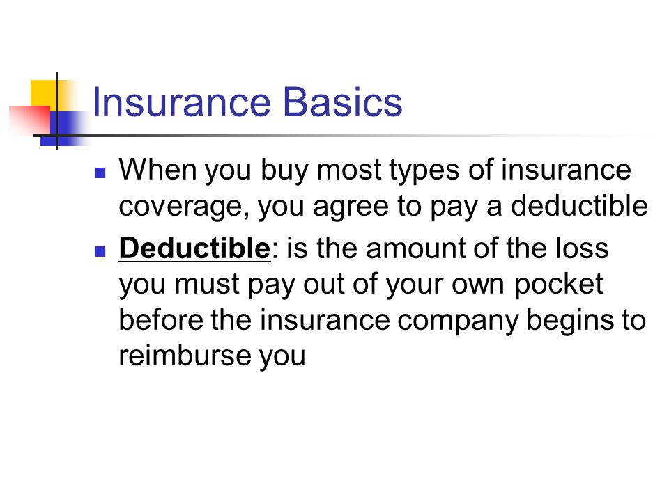 Insurance Basics When you buy most types of insurance coverage, you agree to pay a deductible Deductible: is the amount of the loss you must pay out of your own pocket before the insurance company begins to reimburse you