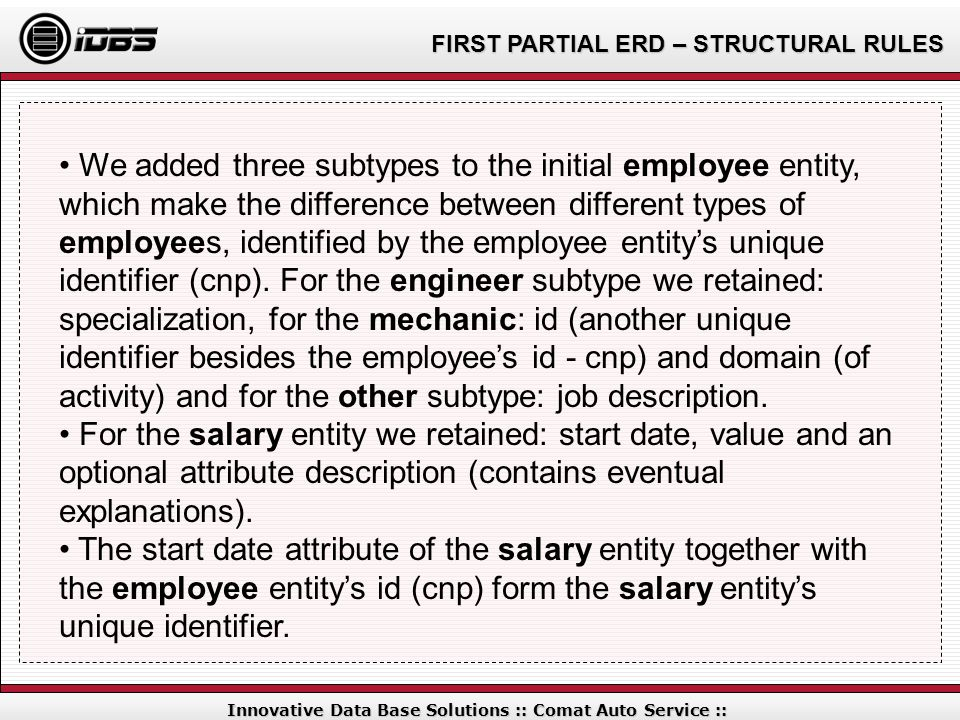 FIRST PARTIAL ERD – STRUCTURAL RULES Innovative Data Base Solutions :: Comat Auto Service :: We added three subtypes to the initial employee entity, w