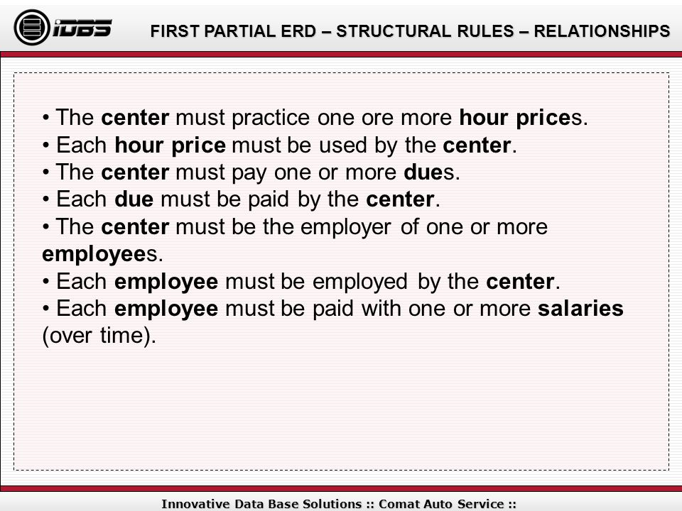 FIRST PARTIAL ERD – STRUCTURAL RULES – RELATIONSHIPS Innovative Data Base Solutions :: Comat Auto Service :: The center must practice one ore more hou