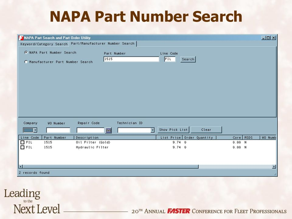 NAPA Part Number Search